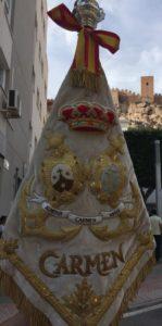 """Banderín de la Banda de Cornetas y Tambores """"Nuestra Señora del Carmen"""" de Almería"""